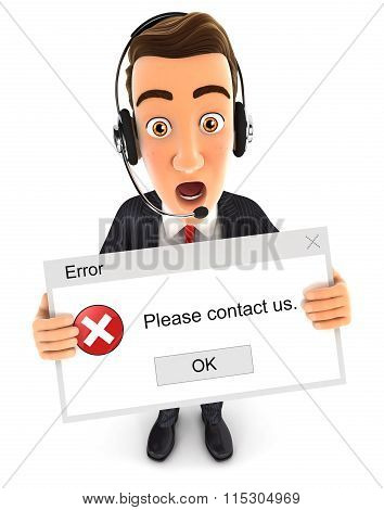 3d businessman holding an error message