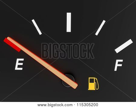 Closeup of a car fuel gauge