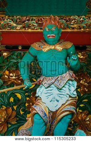 NIKKO JAPAN - NOVEMBER 17 2015: Abatsumara - One of the four guardians at the Yashamon Gate of Taiyuinbyo - the Mausoleum of Shogun Tokug