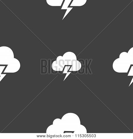 Heavy Thunderstorm Icon Sign. Seamless Pattern On A Gray Background.