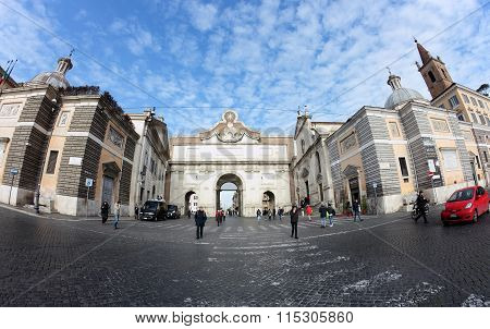 Porta Del Popolo Gate Of The Aurelian Walls, Rome