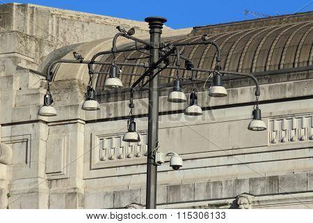 Street Lights Of Central Railway Station, Milan