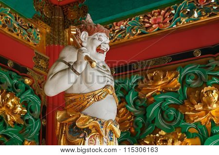 NIKKO JAPAN - NOVEMBER 17 2015: Kendara - One of the four guardians at the Yashamon Gate of Taiyuinbyo - the Mausoleum of Shogun Tokugawa Ie