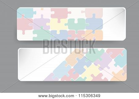 Transparent Puzzle Dekor On The Paper Rectangles