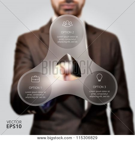 Businessman pressing button.