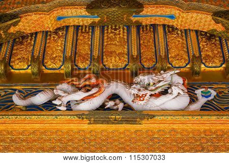 NIKKO, JAPAN - NOVEMBER 17, 2015: Detail of Yashamon Gate at Taiyuinbyo - the Mausoleum of Shogun Tokugawa Iemitsu, the grandson of Ieyasa : the first Shogun of the Tokugawa clan