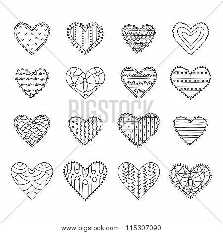 Set of sixteen hand drawn decorative hearts with different patterns on a white background