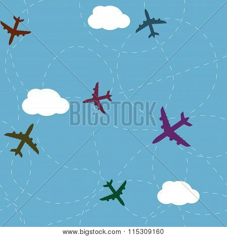 Cartoon airplane path seamless pattern