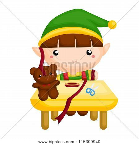 Little elf preparing the presents