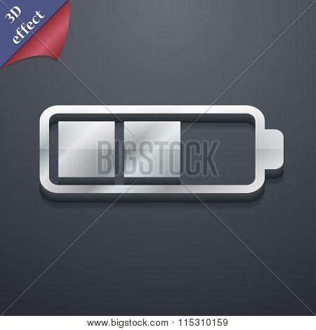 Battery Half Icon Symbol. 3D Style. Trendy,