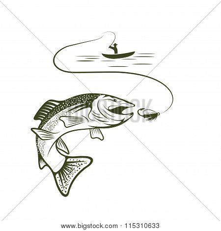 Fisherman In Boat And Trout