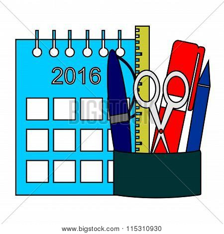 Vector Illustration. The Composition Of The Stationery And Calendar Over White Background