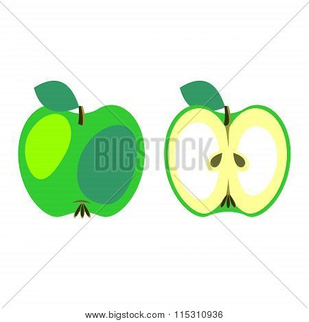 Vector fruits illustration. Detailed icon of apple whole and half isolated over white background.Ser