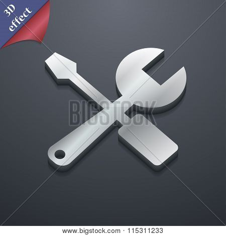 Wrench And Screwdriver Icon Symbol. 3D Style. Trendy, Modern Design With Space For Your Text