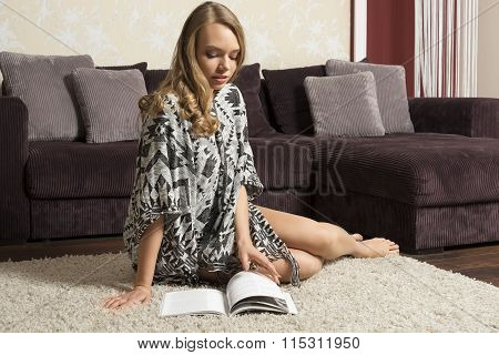 Pretty Lady In Home Reading Book