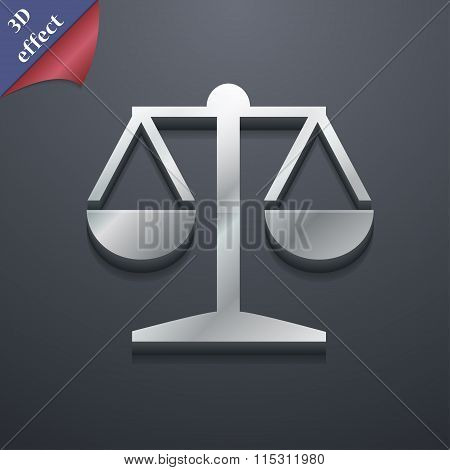 Libra Icon Symbol. 3D Style. Trendy, Modern Design With Space For Your Text