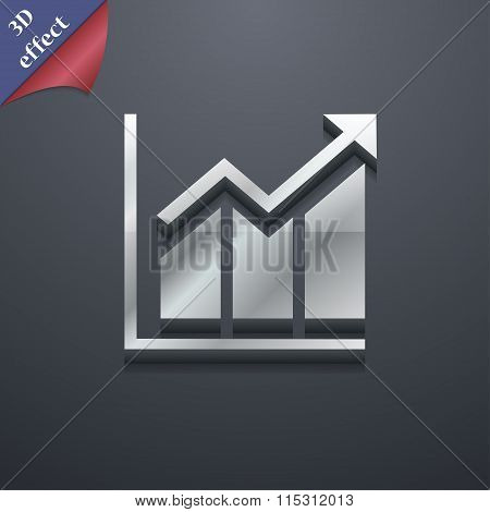 Growing Bar Chart Icon Symbol. 3D Style. Trendy, Modern Design With Space For Your Text