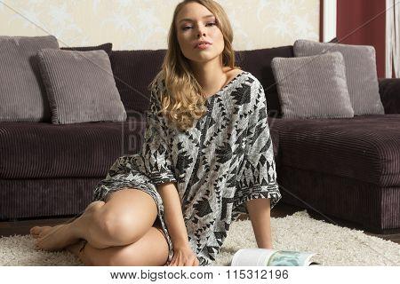 Blond Woman Posing On Carpet