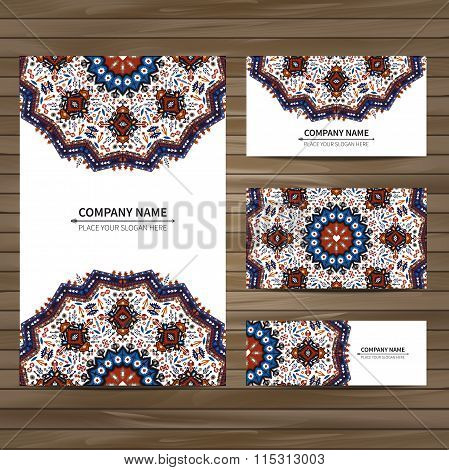 Business card template in tribal style