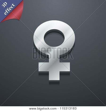 Female Icon Symbol. 3D Style. Trendy, Modern Design With Space For Your Text