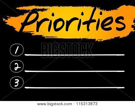 Priorities Blank List