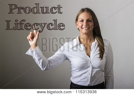 Product Lifecycle - Beautiful Girl Touching Text On Transparent Surface