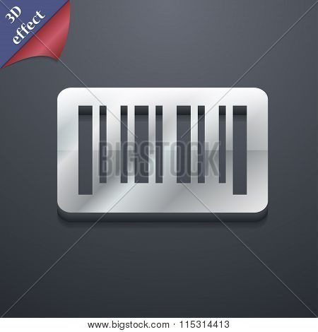 Barcode Icon Symbol. 3D Style. Trendy, Modern Design With Space For Your Text