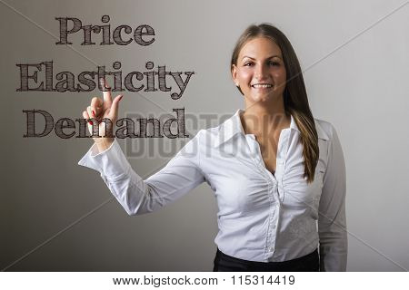 Price Elasticity Demand - Beautiful Girl Touching Text On Transparent Surface