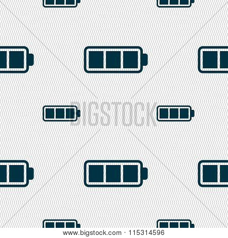 Battery Fully Charged Icon Sign. Seamless Pattern With Geometric Texture.