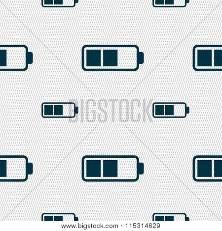 Battery Half Icon Sign. Seamless Pattern With Geometric Texture.