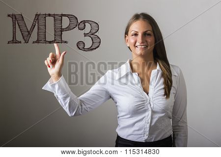 Mp3 - Beautiful Girl Touching Text On Transparent Surface