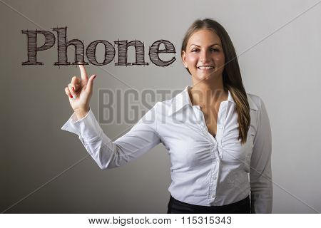 Phone - Beautiful Girl Touching Text On Transparent Surface