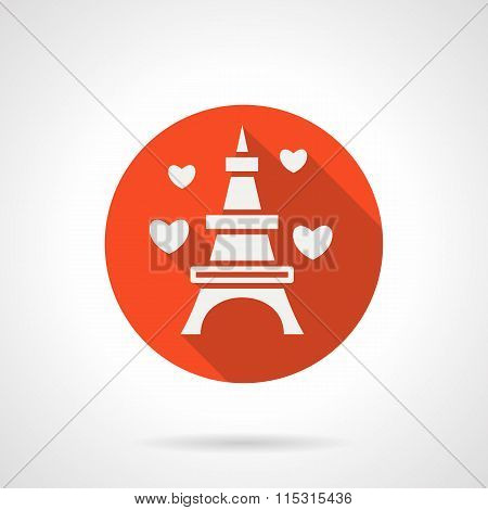 Eiffel Tower romantic trip flat vector icon