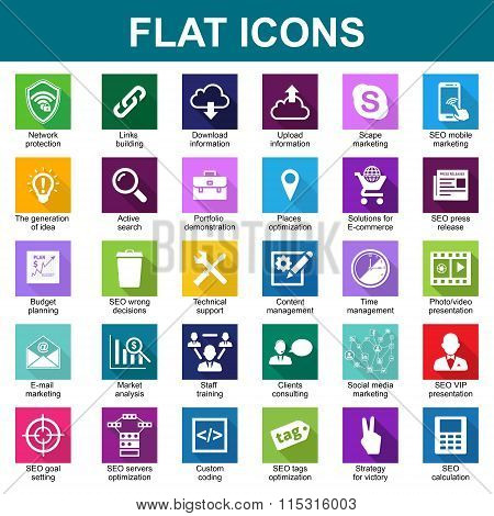 30 Universal Flat Icons. Vector