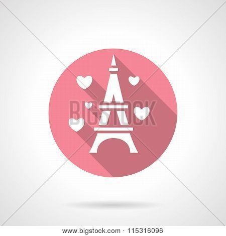 Love tour round pink vector icon