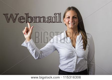 Webmail - Beautiful Girl Touching Text On Transparent Surface