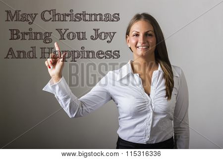 May Christmas Bring You Joy And Happiness - Beautiful Girl Touching Text On Transparent Surface