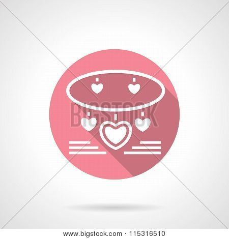 Jewelry romantic gift round pink vector icon
