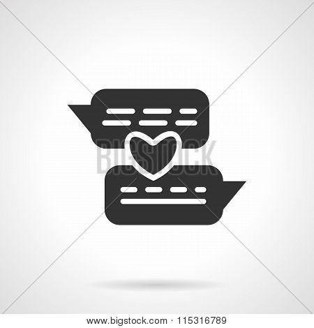 Distance love black vector icon