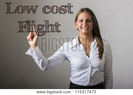 Low Cost Flight - Beautiful Girl Touching Text On Transparent Surface