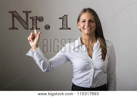 Nr. 1  - Beautiful Girl Touching Text On Transparent Surface