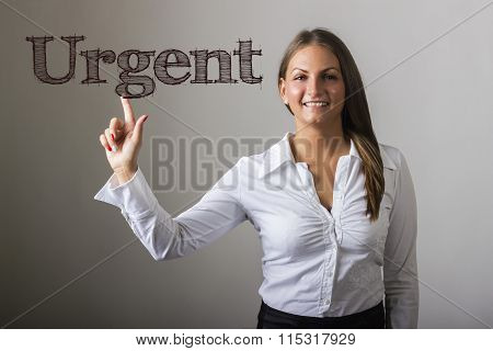 Urgent - Beautiful Girl Touching Text On Transparent Surface