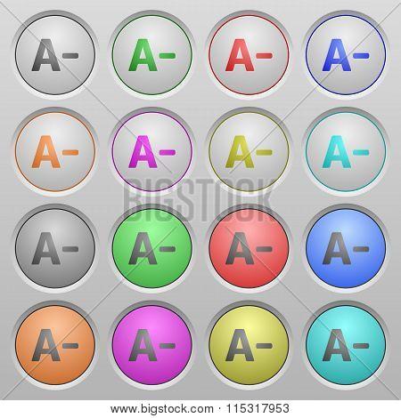 Decrease Font Size Plastic Sunk Buttons