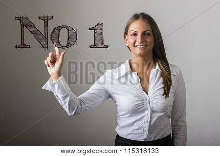 No1 - Beautiful Girl Touching Text On Transparent Surface