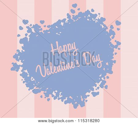 Valentine`s Day Card With Hearts And Text. Rose Quartz And Serenity