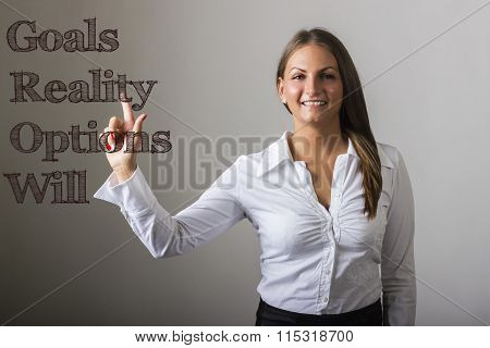 Goals Reality Options Will Grow - Beautiful Girl Touching Text On Transparent Surface