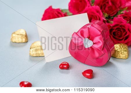 Roses Bouquet, Gift And Blank Greeting Card