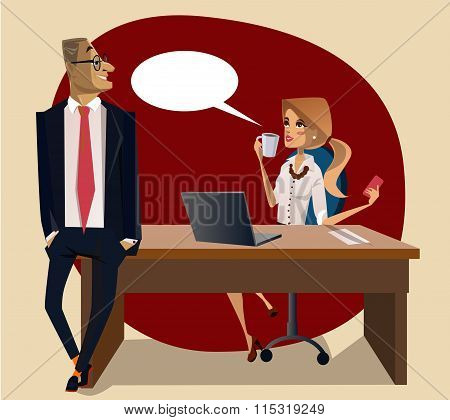 office scene with woman and man on the table