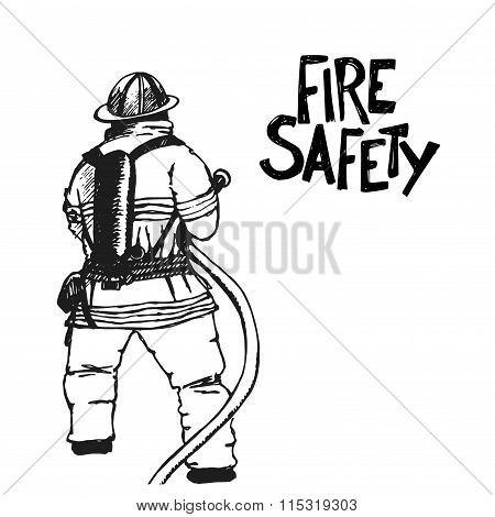 Firefighter with a hose sign.