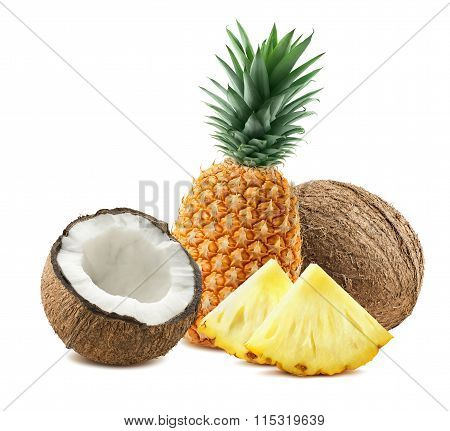 Pineapple Coconut Pieces Composition 3 Isolated On White Background